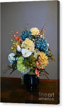 Decorative Floral Mixed Media B3117 Canvas Print by Mas Art Studio