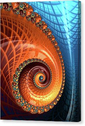 Canvas Print featuring the digital art Decorative Fractal Spiral Orange Coral Blue by Matthias Hauser