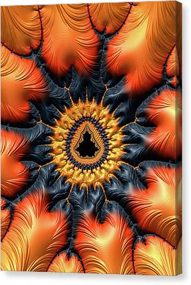 Canvas Print featuring the digital art Decorative Mandelbrot Set Warm Tones by Matthias Hauser