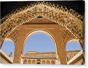 Decorative Moorish Architecture In The Nasrid Palaces At The Alhambra Granada Spain Canvas Print by Mal Bray