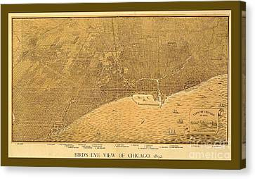 Decorative Vintage Sepia Map Of Chicago Canvas Print by Pd