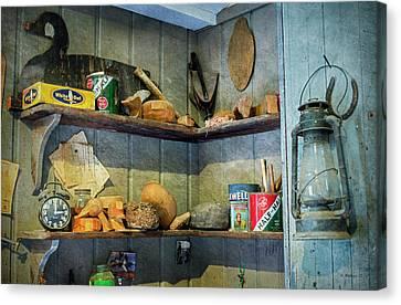 Michael Canvas Print - Decoy Workshop Shelves by Brian Wallace