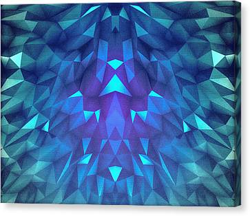 Deep Blue Collosal Low Poly Triangle Pattern  Modern Abstract Cubism  Design Canvas Print