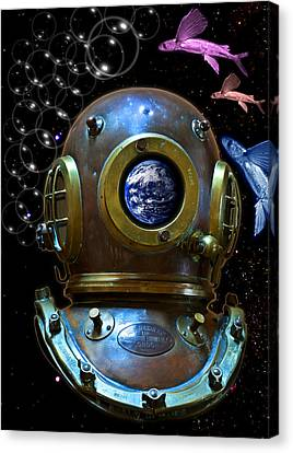 Deep Diver In Delirium Of Blue Dreams Canvas Print by Pedro Cardona