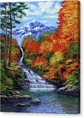 Deep Falls In Autumn Canvas Print by David Lloyd Glover
