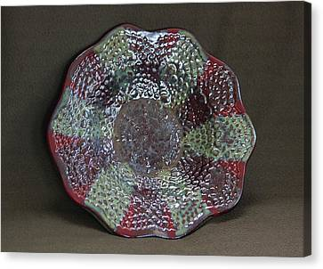 Hand Built Canvas Print - Deep Firebrick And Seaweed And Saturation Gold Textured Bowl by Suzanne Gaff