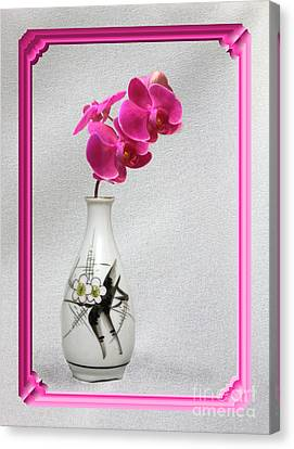 Canvas Print featuring the photograph Deep Pink  Orchids by Linda Phelps