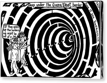 Deep Under The Gaza Border. By Yontan Frimer Canvas Print by Yonatan Frimer Maze Artist