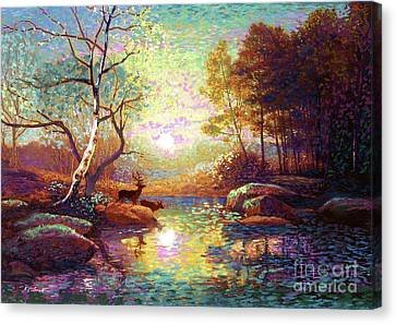 Impressionist Landscape Canvas Print - Deer And Dancing Shadows by Jane Small