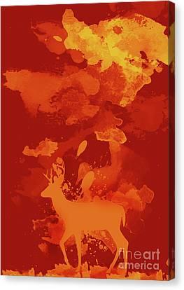 Deer On Beach Canvas Print - Deer Art Evening by Prar Kulasekara