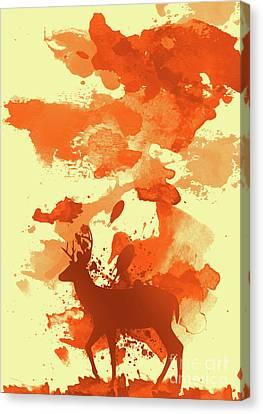 Deer Art Morning Canvas Print by Prar Kulasekara
