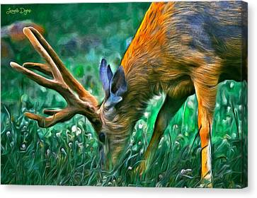 Triceratops Canvas Print - Deer At Lunch - Pa by Leonardo Digenio