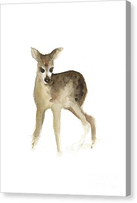 Deer Fawn Watercolor Painting Canvas Print by Joanna Szmerdt