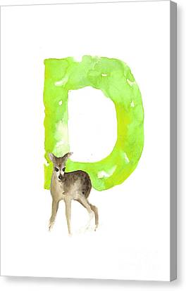 Deer Figurine Watercolor Poster Canvas Print by Joanna Szmerdt