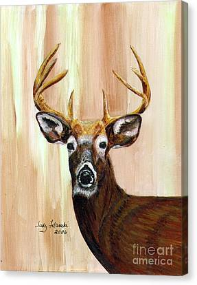 Deer Head Canvas Print by Judy Filarecki