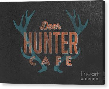 Vintage Sign Canvas Print - Deer Hunter Cafe by Edward Fielding