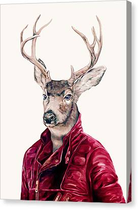 Deer In Leather Canvas Print by Animal Crew