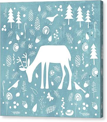 Christmas Flower Canvas Print - Deer In The Woods by Nic Squirrell