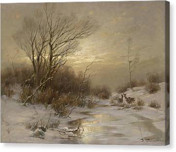 Deer In Winter Landscape By Desire Thomassin Rehe In Winterlandschaft Canvas Print