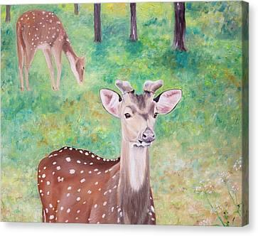 Canvas Print featuring the painting Deer In Woods by Elizabeth Lock