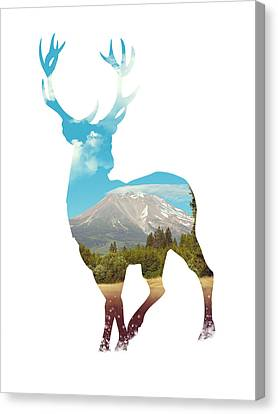 Deer Silhouette 01 Canvas Print by Aged Pixel
