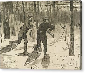 Deer-stalking In The Adirondacks In Winter Canvas Print by Winslow Homer