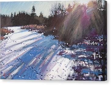 Deer Tracks Snowy River Canvas Print by Larry Seiler