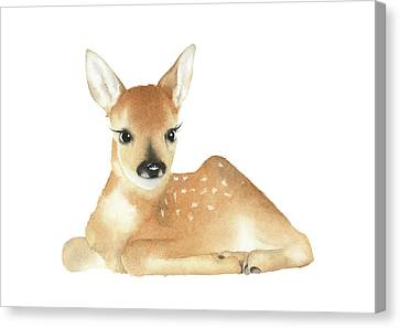 Canvas Print featuring the painting Deer Watercolor by Taylan Apukovska