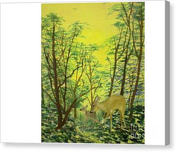 Deer With Fawn Canvas Print by Hal Newhouser