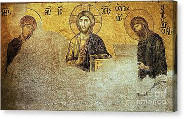 Deesis Mosaic Hagia Sophia-christ Pantocrator-judgement Day Canvas Print by Urft Valley Art