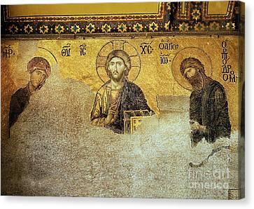 Deesis Mosaic Hagia Sophia-christ Pantocrator-the Last Judgement Canvas Print