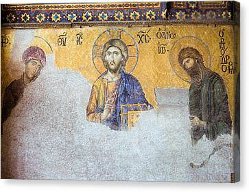 Deesis Mosaic Of Jesus Christ Canvas Print