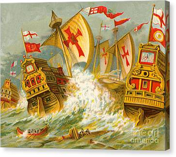 Defeat Of The Spanish Armada Canvas Print by English School
