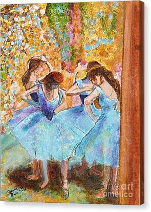 Degas Dancers In Blue Canvas Print by Pauline Ross