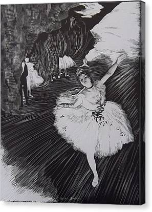 Degas' L'etoile In Scratchboard Canvas Print by Becky Chappell