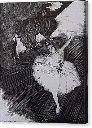 Degas' L'etoile In Scratchboard Canvas Print