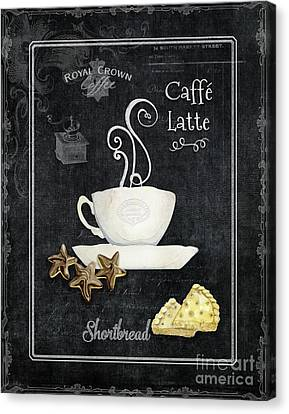 Canvas Print featuring the painting Deja Brew Chalkboard Coffee 2 Caffe Latte Shortbread Chocolate Cookies by Audrey Jeanne Roberts