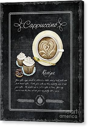 Canvas Print featuring the painting Deja Brew Chalkboard Coffee 3 Cappuccino Cupcakes Chocolate Recipe  by Audrey Jeanne Roberts