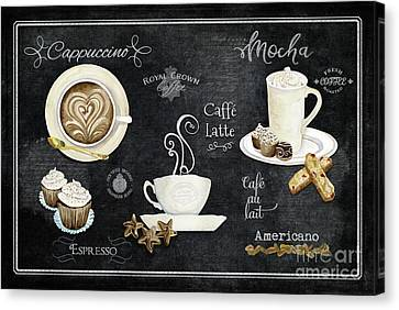 Canvas Print featuring the painting Deja Brew Chalkboard Coffee Cappuccino Mocha Caffe Latte by Audrey Jeanne Roberts