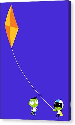Del And Dee Kite Canvas Print by Pbs Kids
