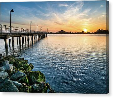 Canvas Print featuring the photograph Del Norte Pier And Spring Sunset by Greg Nyquist