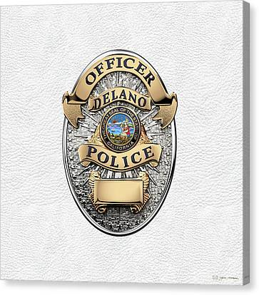 Delano Police Department - Officer Badge Over White Leather Canvas Print