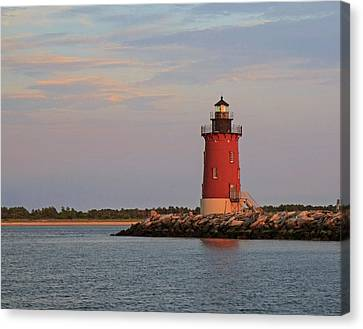Canvas Print featuring the photograph Delaware Breakwater Light 2016 by Robert Pilkington