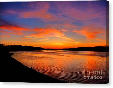 Spectacular Canvas Print - Delaware River Evening  by Olivier Le Queinec