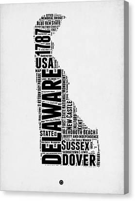 Delaware Word Cloud 2 Canvas Print by Naxart Studio