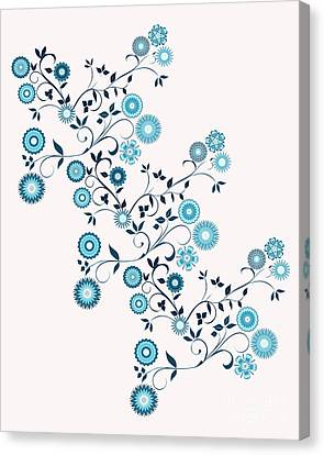 Delft Floral Pattern Canvas Print by Methune Hively