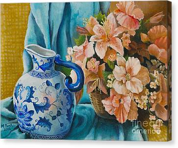 Canvas Print featuring the painting Delft Pitcher With Flowers by Marlene Book