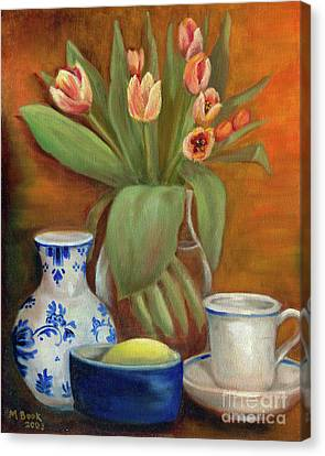Canvas Print featuring the painting Delft Vase And Mini Tulips by Marlene Book