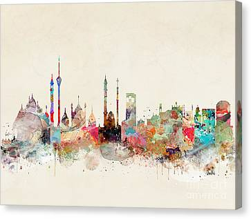 Canvas Print featuring the painting Delhi City Skyline by Bri B