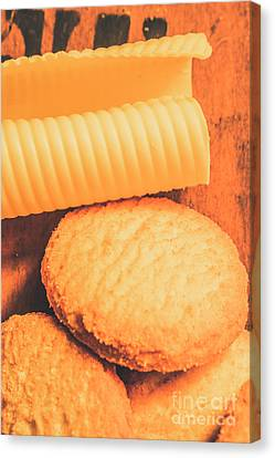 Delicious Cookies With Piece Of Butter Canvas Print